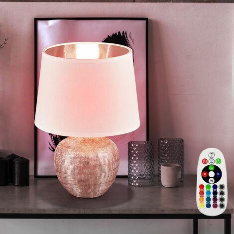 Lámpara de mesa cerámica comedor tela lámpara noche luz DIMMABLE en un conjunto incluido RGB LED iluminante
