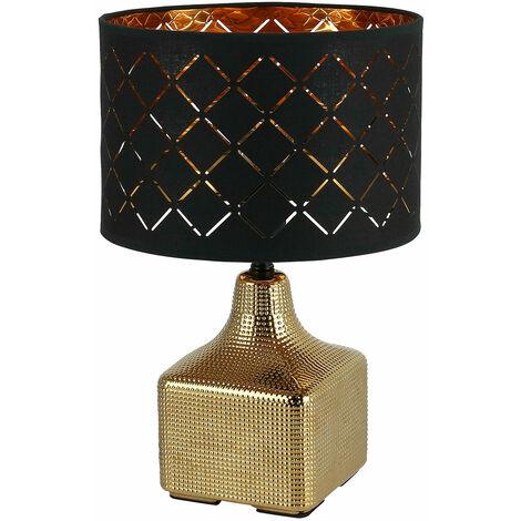 Lámpara de mesa cerámica redonda color dorado negro luz lectura textil estar iluminación Globo 21612