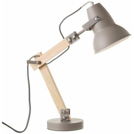 Lámpara de mesa con flexo moderna de madera gris de 43x41x13 cm