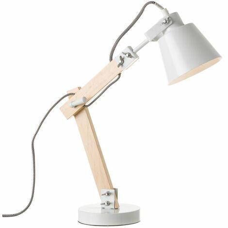 Lámpara de mesa con flexo nórdica de madera blanca de 43x41x13 cm