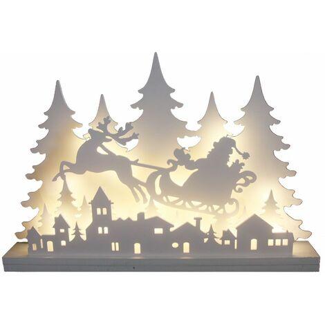 Lámpara de mesa de decoración navideña LED lámpara de sala de estar blanca Winter Forest Village Advent X-Mas Harms 920112