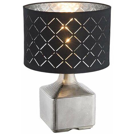 Lámpara de mesa de escritura lámpara de oficina cerámica cable de 1,5 m iluminación textil cromado