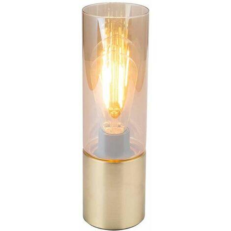 Lámpara de mesa de escritura lámpara de vidrio cilindro cable textil latón mate touch on off