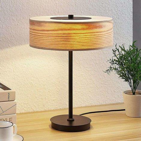 Lámpara de mesa de madera Dominic redonda