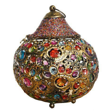 Lámpara de mesa de metal con gemas - Modelo étnico (25x25x25 cm)