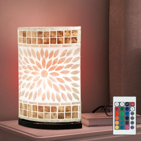 lámpara de mesa de mosaico Seashell control remoto sala de estar lámpara regulable incluido en el conjunto. RGB lámparas LED