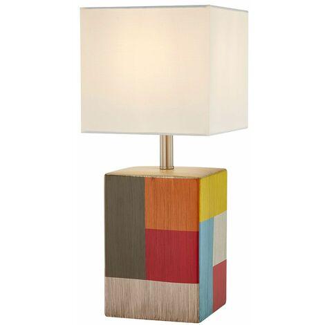 Lámpara de mesa de noche con escritura de diseño, lámpara textil de cerámica con control remoto, regulable en color en un juego que incluye bombillas LED RGB
