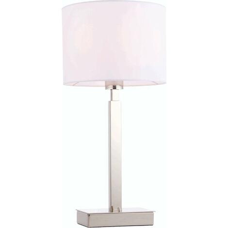 lámpara de mesa de Norton cilindro en acero, placa de cromo y blanco de la tela de la vendimia