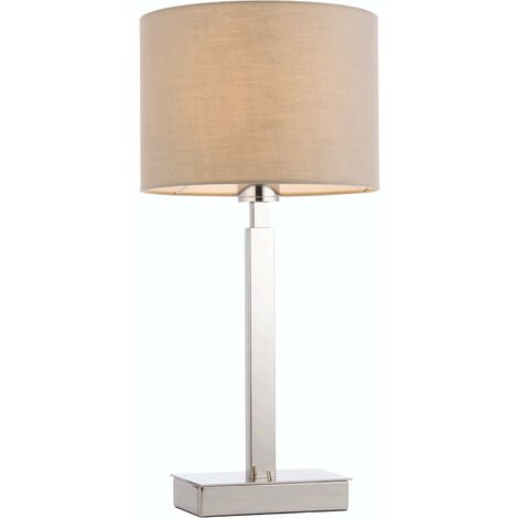 lámpara de mesa de Norton cilindro en acero, placa de cromo y de la tela de color topo