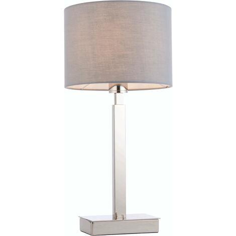 lámpara de mesa de Norton cilindro en acero, placa de cromo y tela gris
