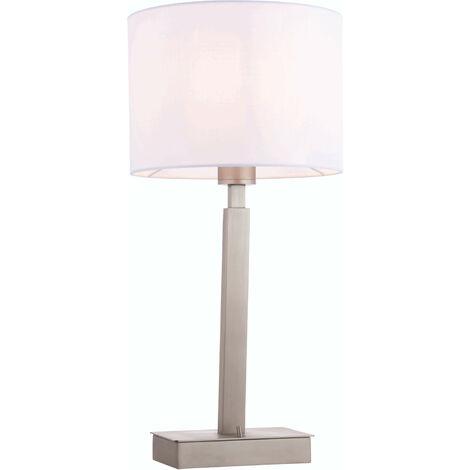 lámpara de mesa de Norton cilindro en acero, placa de níquel mate y blanco de la tela de la vendimia