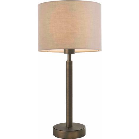 lámpara de mesa de Owen cilindro en acero, placa de bronce de la antigüedad y de la tela de color topo