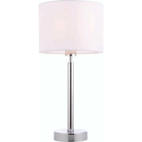 lámpara de mesa de Owen cilindro en acero, placa de cromo y blanco de la tela de la vendimia