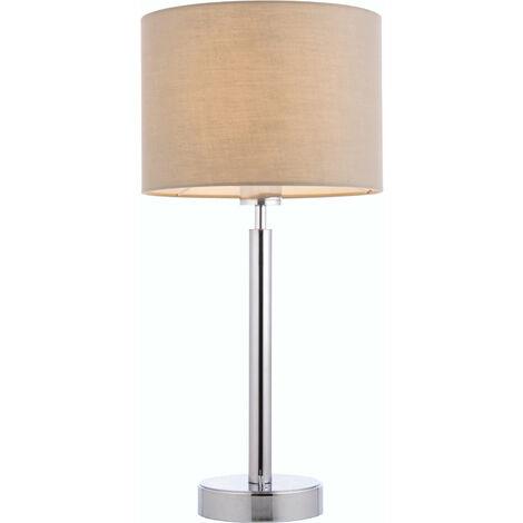 lámpara de mesa de Owen cilindro en acero, placa de cromo y de la tela de color topo