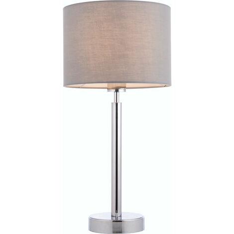 lámpara de mesa de Owen cilindro en acero, placa de cromo y tela gris