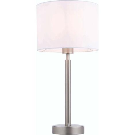 lámpara de mesa de Owen cilindro en acero, placa de níquel mate y blanco de la tela de la vendimia