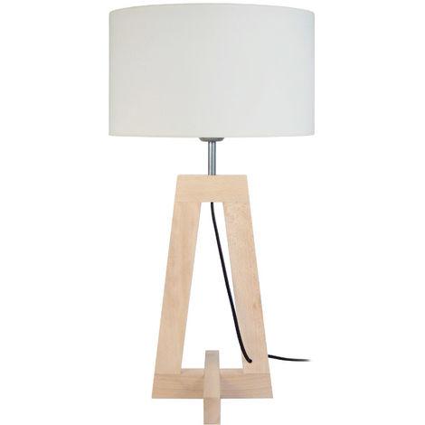 Lámpara de mesa diseño base de madera natural MANON