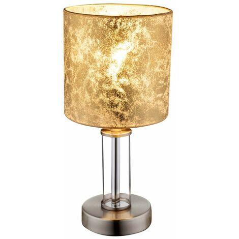 Lámpara de mesa dormitorio para huéspedes habitación de lectura lámpara textil vidrio reflector oro-colores Globo 24648