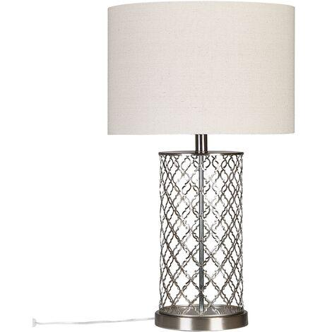 Lámpara de mesa en blanco/plateado BALLEZA