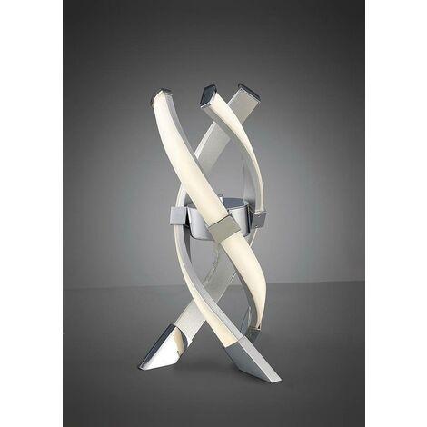 Lámpara de Mesa Espirales 1 Bombilla 12W LED 3000K, 840lm, plata / acrílico mate / cromo pulido