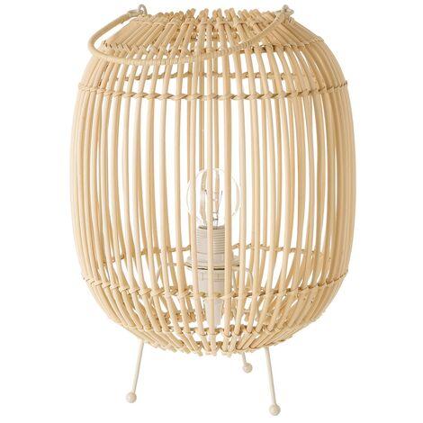 Lámpara de mesa farol de varillas de rattán y metal beige de Ø 22x30cm