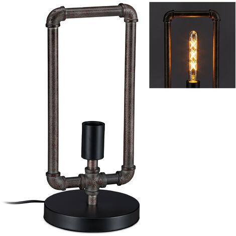 Lámpara de mesa, Forma de tubería, Estilo industrial, E27, 41x18 cm, Gris & Marrón