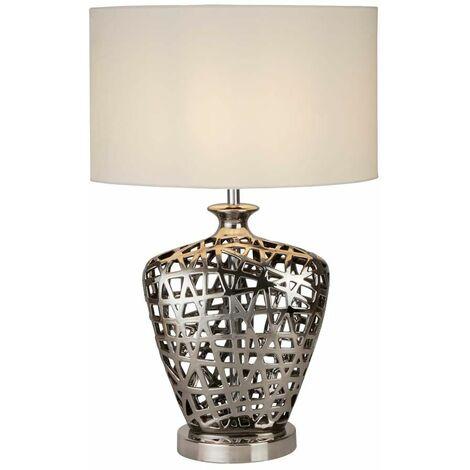 Lámpara de mesa grande Network, base cromada con recorte y pantalla ovalada blanca