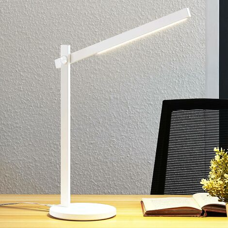 Lámpara de mesa LED Loretta, recta, blanca