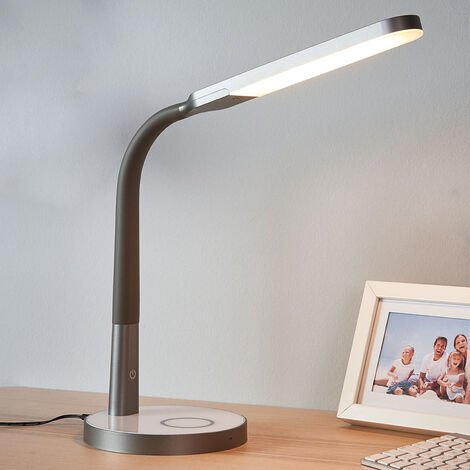 Lámpara de mesa LED Maily en gris, USB y atenuador