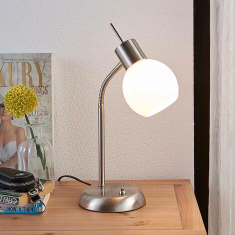 Lámpara de mesa LED Manon con pantalla en blanco