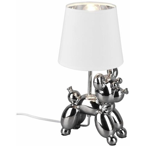 Lámpara de mesa LED RGB inteligente perro de cerámica plata DIMMER lámpara textil aplicación de voz controlable a través del teléfono móvil