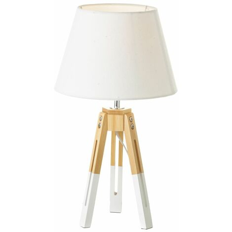 """main image of """"Lámpara de mesa nórdica de madera blanca de 44x25x25 cm"""""""