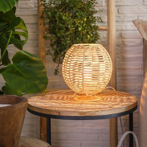 Lámpara de mesa oriental de rattán natural beige de 23x20x20 cm