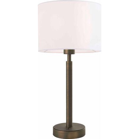 Lámpara de mesa Owen Cilindro de acero, placa de bronce antiguo y tela blanca de la vendimia