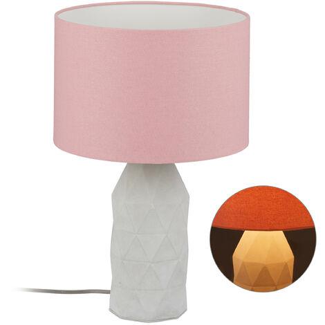 Lámpara de mesa, Pantalla textil, Casquillo E27, Hormigón, Con cable, 46,5 x 30 cm, 1 Ud., Rosa & Gris