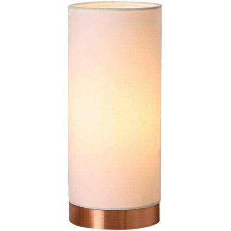 Lámpara de mesa Ronja blanca con base color cobre