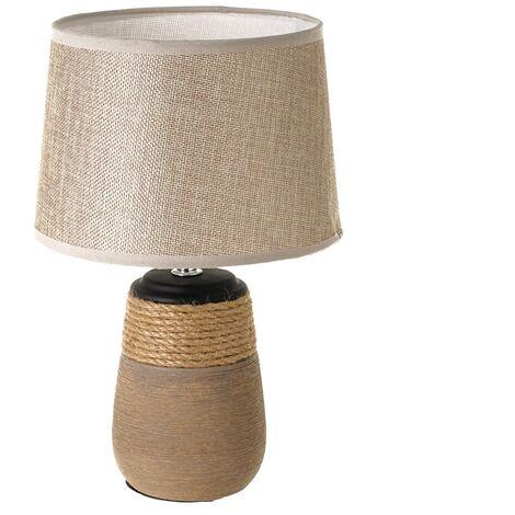 Lámpara de mesa rústica de cerámica y cordón de arpillera marrón, de ø 20x30 cm