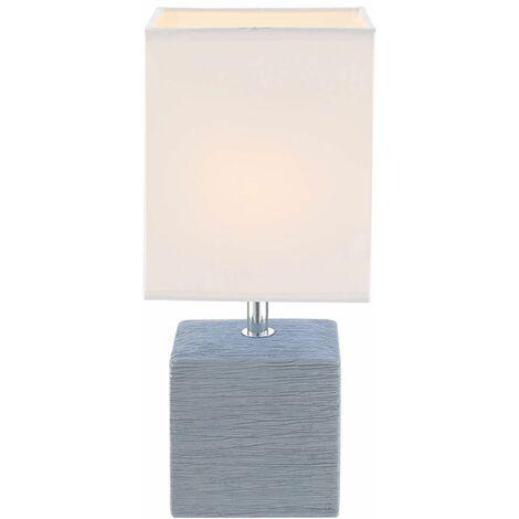 Lámpara de mesa Salón de cerámica Comedor Beistell Set de lámpara de sombrilla de tela con bombillas LED