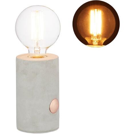 Lámpara de mesa, Sensor táctil, Redonda, Decorativa, E27, Hormigón, 26 x 9 cm, 1 Ud., Gris