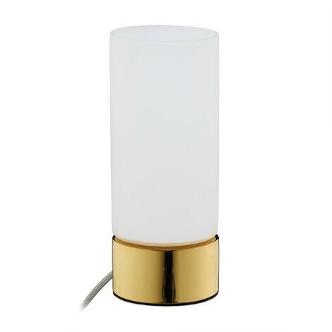 Lámpara de mesa táctil, Con cable, E14, Moderno, Vidrio opalino, 19,5 x 8 cm, Dorado & Blanco