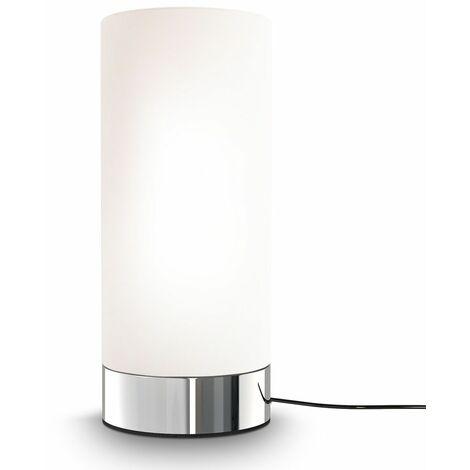 Lámpara de mesa táctil máx. 25 W E14, Ø15,7cm, 4 niveles de luminosidad, Lamparilla de noche moderna, Color blanco, IP20:Kugel-Rund (de)