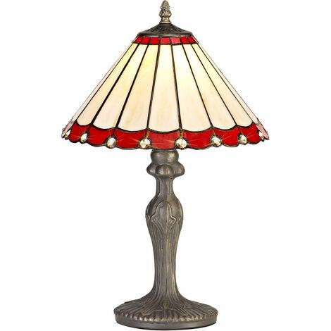 Lámpara de mesa Tiffany Calais 1 bombilla roja