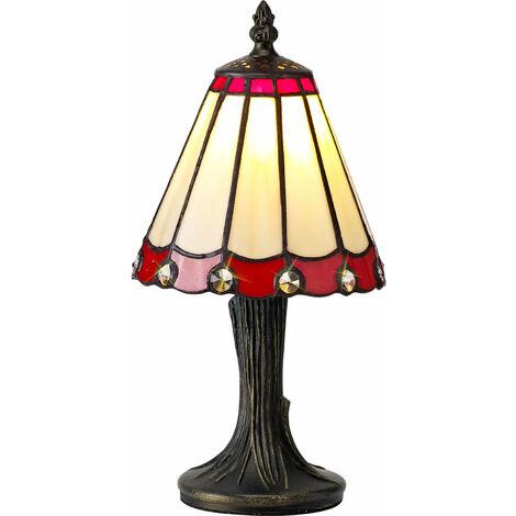 Lámpara de mesa Tiffany Calais 1 Bombilla Roja / Transparente 31 Cm
