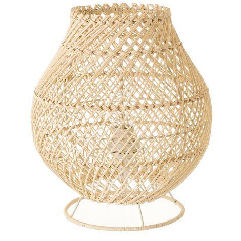 Lámpara de mesa trenzada con varillas de rattán y metal en beige de Ø 24x27 cm