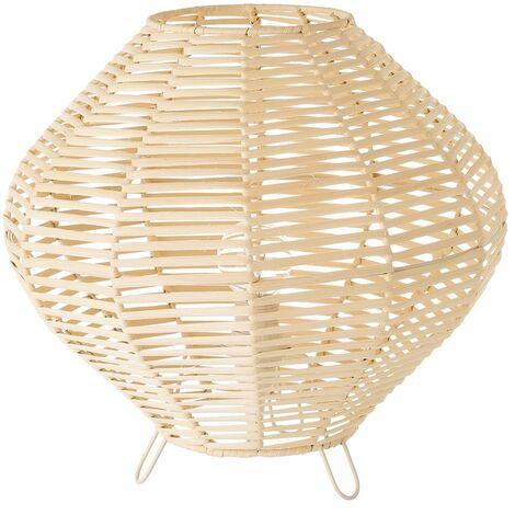 Lámpara de mesa trenzada con varillas de rattán y metal en beige de Ø 30x28 cm