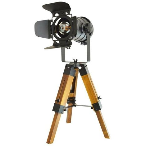 """Lámpara de mesa vintage con trípode """"CINEMA MINI"""" 67cm"""