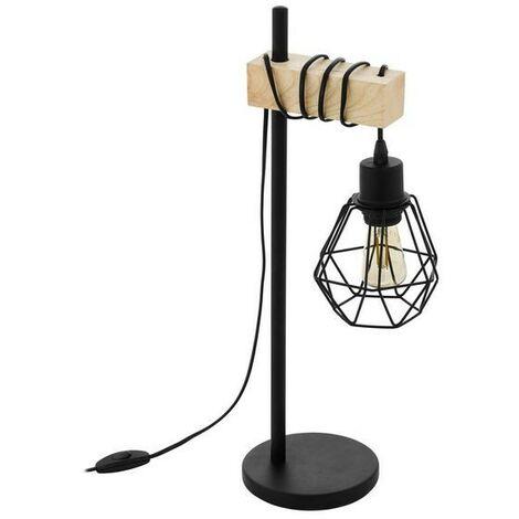 Lámpara de mesa vintage de metal y soporte de madera 220-240 V IP20   hierro