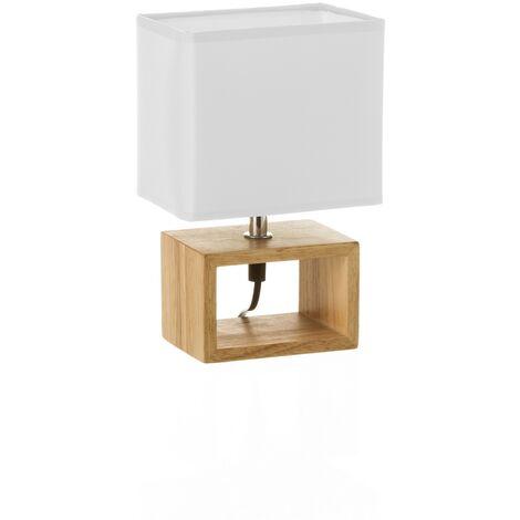 "main image of ""Lámpara de mesita de noche nórdica de madera marrón de 24x10x15 cm"""