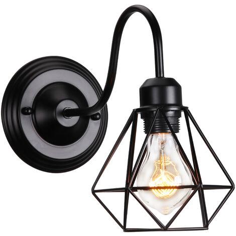 Lámpara de Pared ?10cm Diamante de Tubo Curvo Oro (Negro)Aplique Jaula de Hierro Decoración Adecuado para Sala de Estar Cocina Dormitorio Cafetería