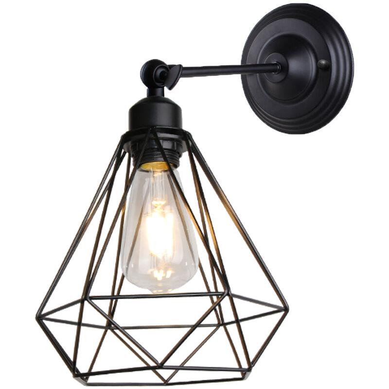 Stoex - Lámpara de Pared Ajustable Lámpara de Jaula Antigua Lámpara de Pared de Metal Industrial para Dormitorio Cafe Bar Negro E27